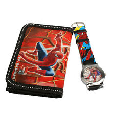 Cartoon Watches Spider Man Series Quartz Watch With Purse For Kids HCXM
