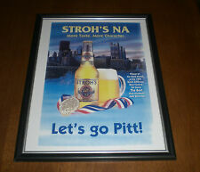 STROH'S NA BEER SALUTES PITT PANTHERS FRAMED AD PRINT