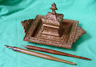 ANTIQUE 19c VICTORIAN FRENCH ORNATE BRONZE BRASS INKWELL - SIGNED