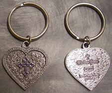 Pewter Key Ring Western Grace Heart Purple Cross NEW