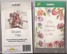 2 Creative Horizons Old Fashioned Pop Up Birthday Cards NIP Wildflowers