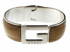 Authentic GUCCI G Logo Silver Plated Leather Ladies Bracelet GA12216L