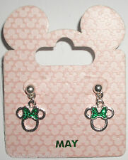 Disney Parks Silvertone Birthstone Earrings - Minnie Mouse Bow: May (Green)