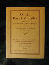 Vintage 1937 Offical Base Ball Rules Booklet (Adopted by NL & AL Leagues)