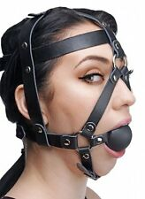 LEATHER HEAD HARNESS MOUTH BALL GAG face strap mask prisoner goth costume black