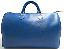 Louis Vuitton EPI Speedy 35 Tasche Bag Zeitlos Boston Elegant Blue Blau Azur