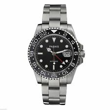 Parnis 40mm Automatic  Men Watch Sapphire Glass Ceramic Bezel GMT Black Dial