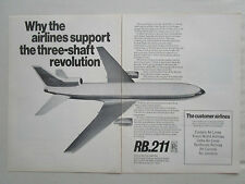 12/1969 PUB ROLLS-ROYCE RB.211 ENGINES LOCKHEED TRISTAR AIRLINER ORIGINAL AD