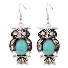Women Vintage Jewellery Silver Oval Bird Turquoise Crystal Moonstone Owl Earring