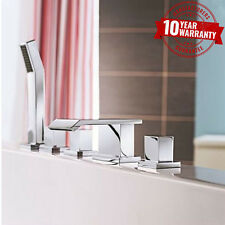 5 Hole Bath Shower Mixer Tap Square Waterfall Cascade Style Chrome Series Q
