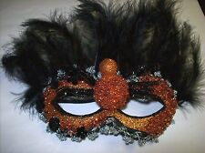 Halloween Mask with Glittered Spider Accent and Elastic Strap (Style #2)