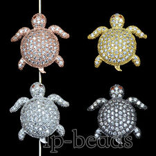 Zircon Gemstones Micro Pave Turtle Connector Charm Beads Bracelet Silver Gold
