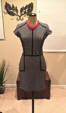Stunning PARKER Black-Ivory Textured Short Sleeved Dress L- NWT-Retail $253.00!!