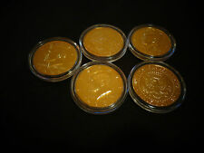 *LOT OF 5 * 24 KT GOLD PLATED JF KENNEDY HALF DOLLAR *COIN SET- AIRTIGHT CAPSULE