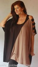 black brown poncho shirt top  OS M L XL 1X 2X 3X stretch jersey diagonal F235