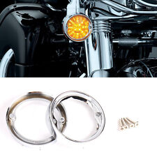 Chrome Deep Dish Turn Signal Bezels For Harley Touring Road King Road Glide