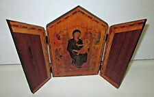 VINTAGE SERBIAN ORTHODOX WOODEN RELIGIOUS TRIPTYCH TRIFOLD ALTER JESUS MARY