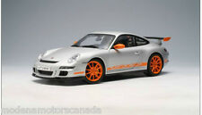 PORSCHE 911 (997) GT3 RS CARRERA SILVER & ORANGE AUTOart 1:18 BAD DAMAGED BOX