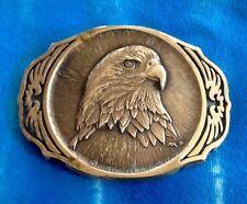 Vintage Solid Brass American Bald Eagle Belt Buckle--western, wildlife, nature