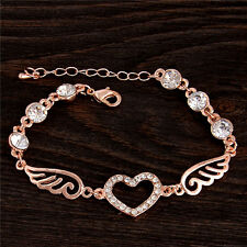 New jewelry 18K Rose gold filled heart sweet crystal unsex's bangle bracelet