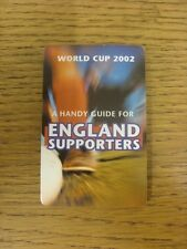 2002 World Cup 2002: A Handy Guide For England Supporters, Small Fold Out Style.