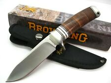 Couteau de Chasse Browning Acier Carbone/Inox Manche Cuir/Os Etui Nylon BR814