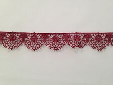 MOROCCAN LACE TRIM WINE RIBBON TAPE DRESSMAKING CRAFT SCALLOPED FLORAL