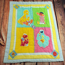 Sesame Street Quilted Baby Blanket LARGE Bedding 32 x 43""