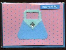 """#24 pin handmade carte-joyeux anniversaire-vierge à l'intérieur-sac à main """"collage"""""""