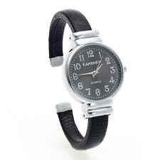 Women Quartz Bracelet Bangle Wristwatch Wrist Watch Black PU Leather Band Gift
