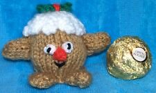 KNITTING PATTERN - Mr Pudding chocolate cover fits Christmas Ferrero Rocher