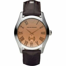 BRAND NEW EMPORIO ARMANI AR0645 AMBER DIAL BROWN CROCO LEATHER MEN'S WATCH