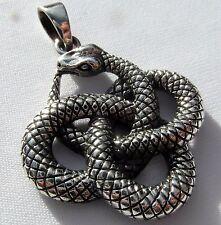 Argent Sterling (925) Ouroboros Serpent Pendentif (8.2 grammes) Nouveau