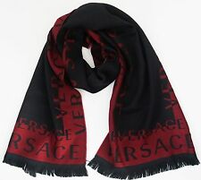 NWT Authentic VERSACE Logo Pattern 100% WOOL Long Scarf