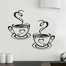 Coffee Cups Cafe Tea Wall Stickers Vinyl Decal Kitchen Art Mural DIY Home Decor