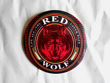 Vintage Red Wolf Lager Beer Advertising Pinback Button