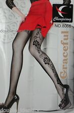 Crossdress for Men Soft Black Fishnet Pantyhose Flowers & Swirls up to 180 lbs