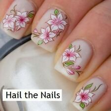 Pink & White Flower Lily Nail Wrap Nail Art DECAL Water TRANSFER Y101