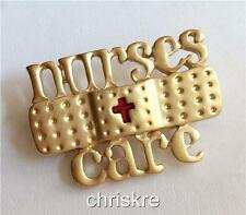 Gold Nurses Care Pin Brooch Cute Nursing Graduation Gift Band Aid RN LPN CNA USA
