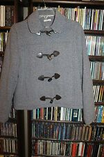 La Redoute EDEIS blue Wool blend JACKET Blazer Leath Horn buttons France 6 bin27