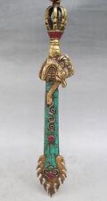 "Exquisite Old Tibet Tibetan Turquoise Bronze Manjushri Wisdom Sword 11.4"" NER"