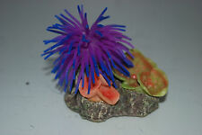 Aquarium Coral Purple & Blue Anemone On Coral Rock 8.5 x 6 x 7 cms