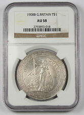 1908 B Great Britain UK TRADE DOLLAR China $1 Silver Coin NGC AU58 Bombay Mint