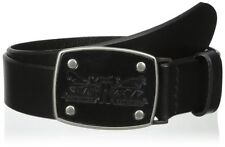 "LEVI`S LTHR BELT WITH LEATHER 2 HORSE LOGO INLAY BUCKLE. BLACK, WAIST 40"", NEW"
