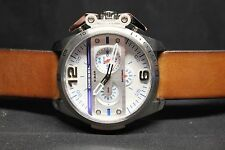 NWT Diesel Ironside Chronograph Stainless/White Dial Brown Leather Watch DZ 4365