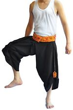 Thai Fisherman Pants Mens Yoga Hippie Boho Aladdin Alibaba Harem Pants Black