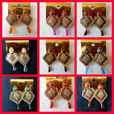 Wholesale Lot of 10 Bollywood style Big earrings Multiple colors