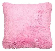 "FILLED SUPERSOFT FAUX FUR BABY CANDY PINK THICK FLUFFY CUSHION COVER 18"" - 45CM"