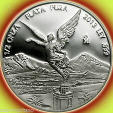 2013 LIBERTAD PROOF 1/2 Troy Ounce Oz .999 Silver Mexico - LOW MINTAGE OF 3000