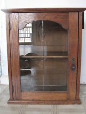"Antique Wooden Oak & Beveled Glass Miniature Medicine Cabinet 18.5"" Tall"